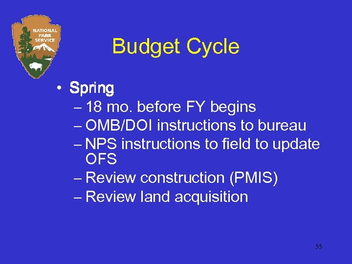 Budget Cycle • Spring – 18 mo. before FY begins – OMB/DOI instructions to