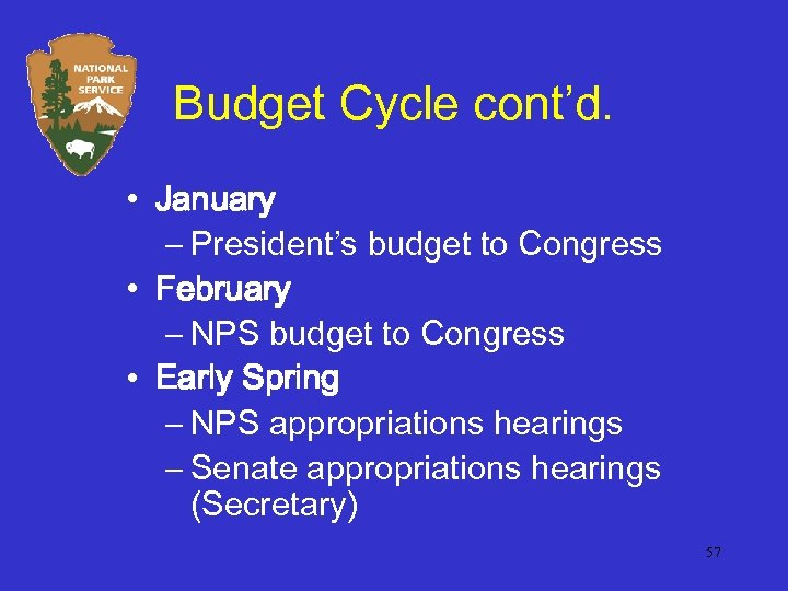 Budget Cycle cont'd. • January – President's budget to Congress • February – NPS