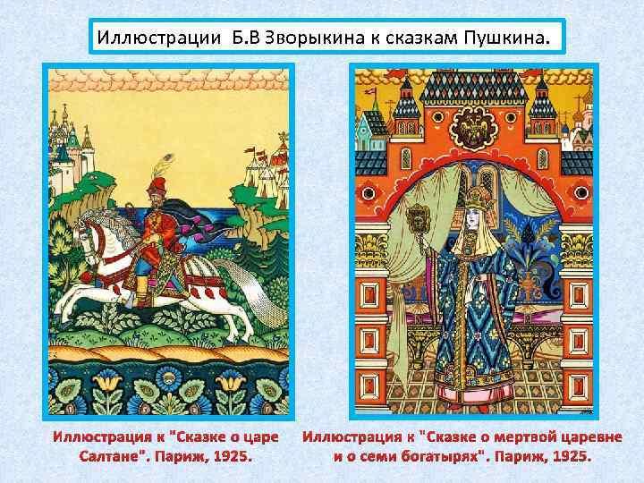 Иллюстрации Б. В Зворыкина к сказкам Пушкина. Иллюстрация к