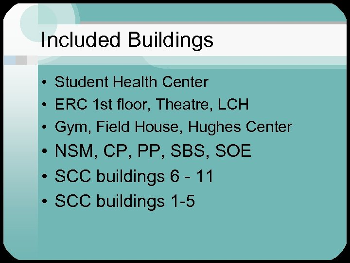 Included Buildings • Student Health Center • ERC 1 st floor, Theatre, LCH •