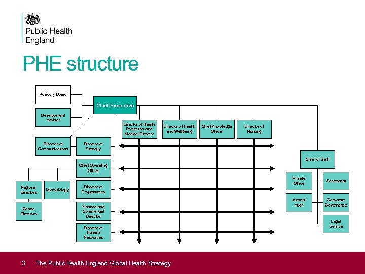 PHE structure Advisory Board Chief Executive Development Advisor Director of Communications Director of Health