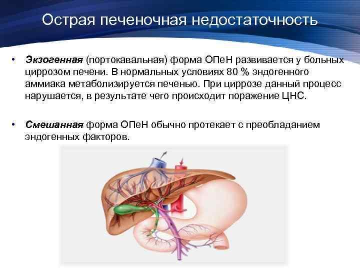 Острая печеночная недостаточность • Экзогенная (портокавальная) форма ОПе. Н развивается у больных циррозом печени.