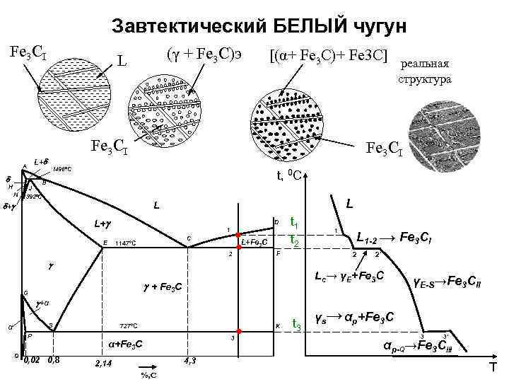 Завтектический БЕЛЫЙ чугун Fe 3 CI (γ + Fe 3 C)э L [(α+ Fe
