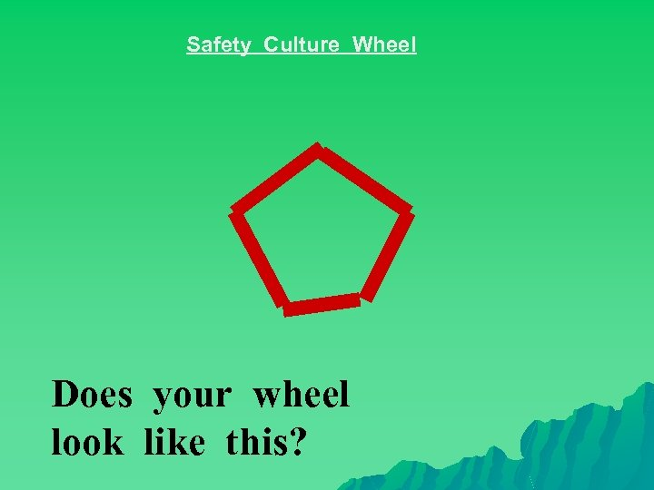 Safety Culture Wheel Does your wheel look like this?