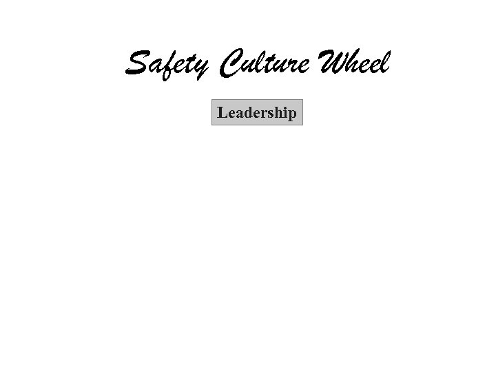 Safety Culture Wheel Leadership