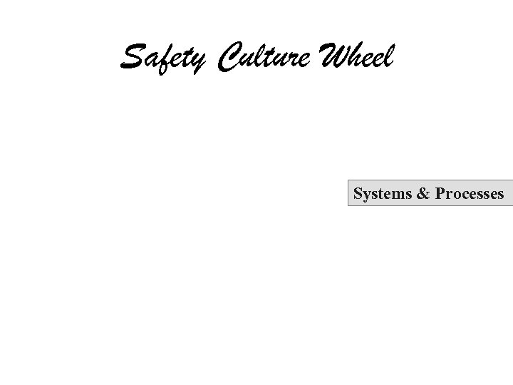 Safety Culture Wheel Systems & Processes