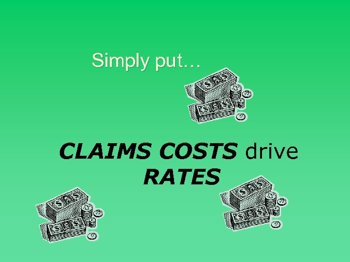 Simply put… CLAIMS COSTS drive RATES