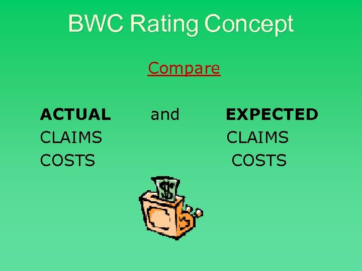 BWC Rating Concept Compare ACTUAL CLAIMS COSTS and EXPECTED CLAIMS COSTS