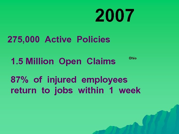 2007 275, 000 Active Policies 1. 5 Million Open Claims Ohio 87% of injured