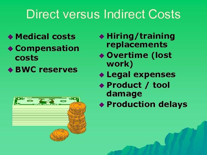 Direct versus Indirect Costs u Medical costs u Compensation costs u BWC reserves u