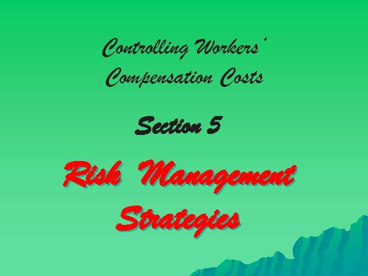 Controlling Workers' Compensation Costs Section 5 Risk Management Strategies