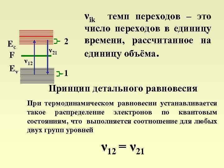 νik темп переходов – это Ec F Ev ν 21 2 ν 12 число