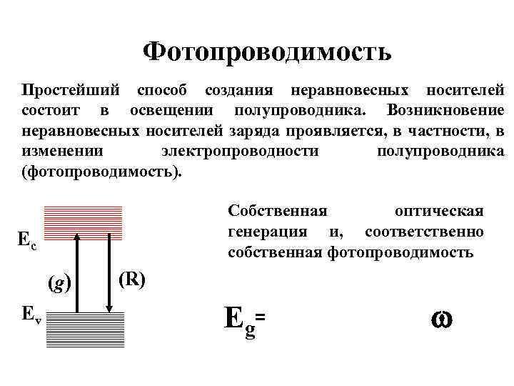 Фотопроводимость Простейший способ создания неравновесных носителей состоит в освещении полупроводника. Возникновение неравновесных носителей заряда