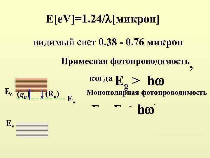 E[e. V]=1. 24/ [микрон] видимый свет 0. 38 0. 76 микрон Примесная фотопроводимость, Ec