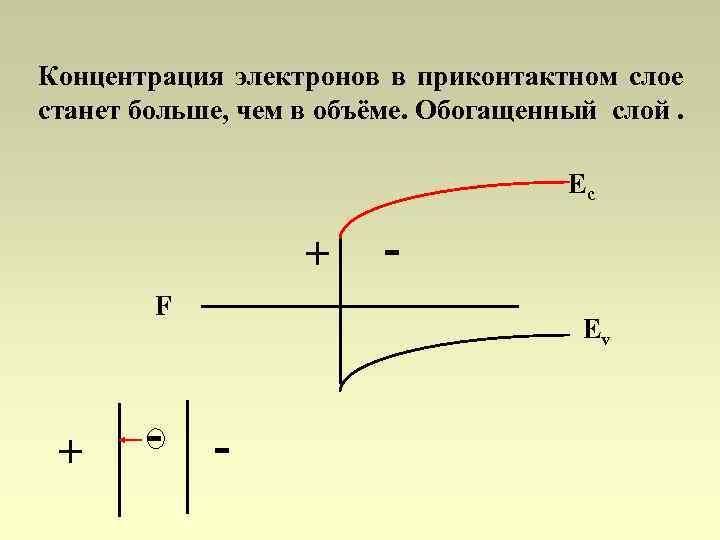 Концентрация электронов в приконтактном слое станет больше, чем в объёме. Обогащенный слой. Ec +
