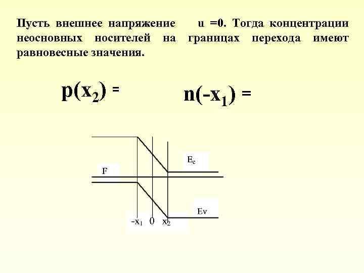 Пусть внешнее напряжение u =0. Тогда концентрации неосновных носителей на границах перехода имеют равновесные