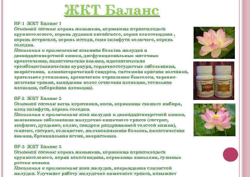 ЖКТ Баланс BF-1 ЖКТ Баланс 1 Основной состав: корень женьшеня, корневище атрактилодеса крупноголового, корень