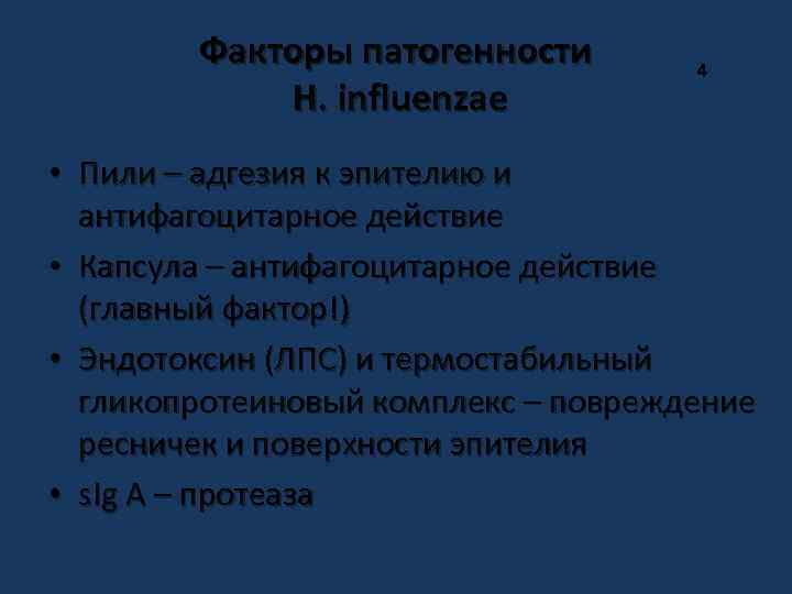 Факторы патогенности H. influenzae 4 • Пили – адгезия к эпителию и антифагоцитарное действие