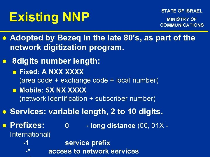 Existing NNP l l STATE OF ISRAEL MINISTRY OF COMMUNICATIONS Adopted by Bezeq in