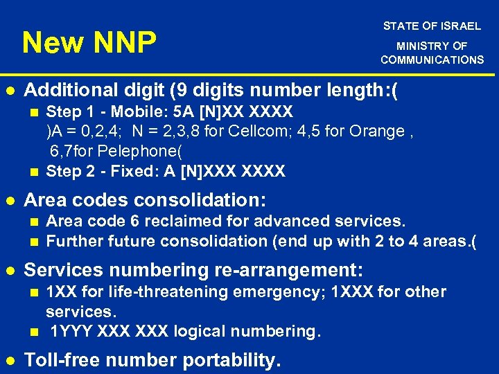 New NNP l n n Area code 6 reclaimed for advanced services. Further future
