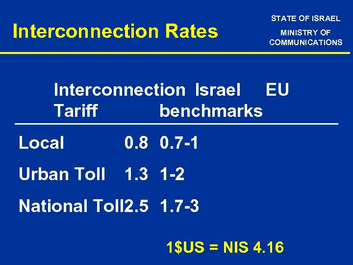 Interconnection Rates STATE OF ISRAEL MINISTRY OF COMMUNICATIONS Interconnection Israel EU Tariff benchmarks Local