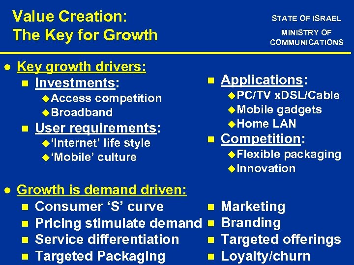 Value Creation: The Key for Growth l Key growth drivers: n Investments: STATE OF