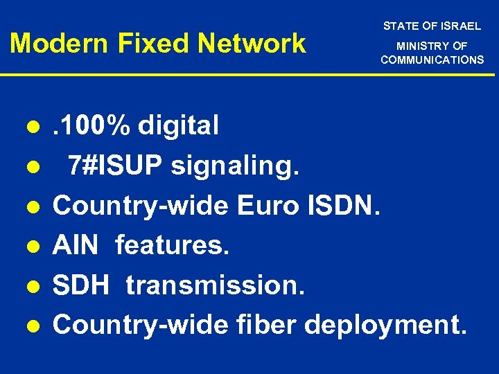 Modern Fixed Network l l l STATE OF ISRAEL MINISTRY OF COMMUNICATIONS . 100%