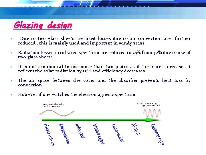 Glazing design Due to two glass sheets are used losses due to air convection