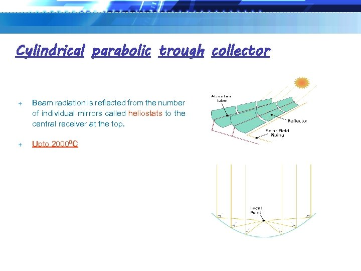 Cylindrical parabolic trough collector Beam radiation is reflected from the number of individual mirrors