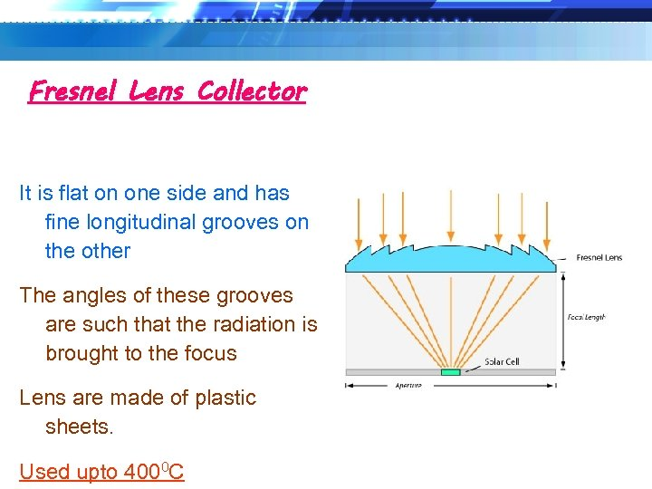 Fresnel Lens Collector It is flat on one side and has fine longitudinal grooves