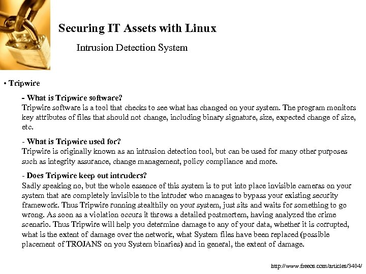 Securing IT Assets with Linux Intrusion Detection System • Tripwire - What is Tripwire