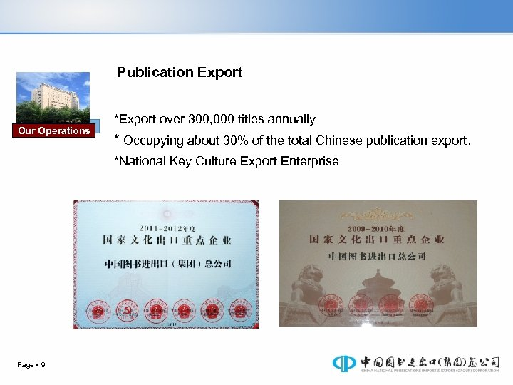 Publication Export Our Operations *Export over 300, 000 titles annually * Occupying about 30%