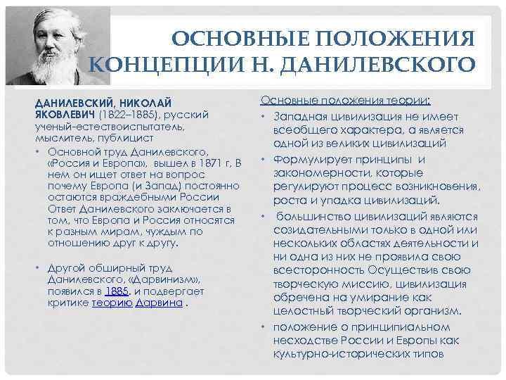 ОСНОВНЫЕ ПОЛОЖЕНИЯ КОНЦЕПЦИИ Н. ДАНИЛЕВСКОГО ДАНИЛЕВСКИЙ, НИКОЛАЙ ЯКОВЛЕВИЧ (1822– 1885), русский ученый-естествоиспытатель, мыслитель, публицист