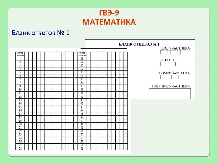 ГВЭ-9 МАТЕМАТИКА Бланк ответов № 1