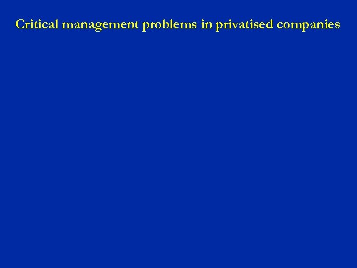 Critical management problems in privatised companies