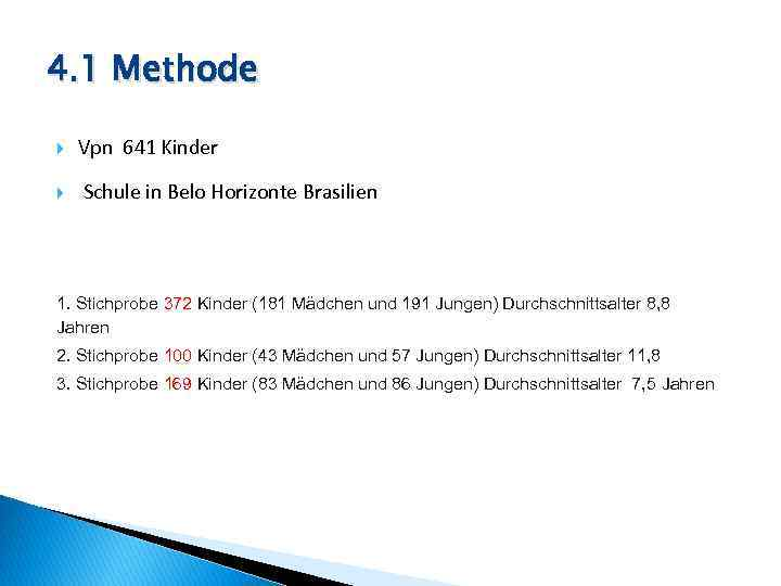 4. 1 Methode Vpn 641 Kinder Schule in Belo Horizonte Brasilien 1. Stichprobe 372