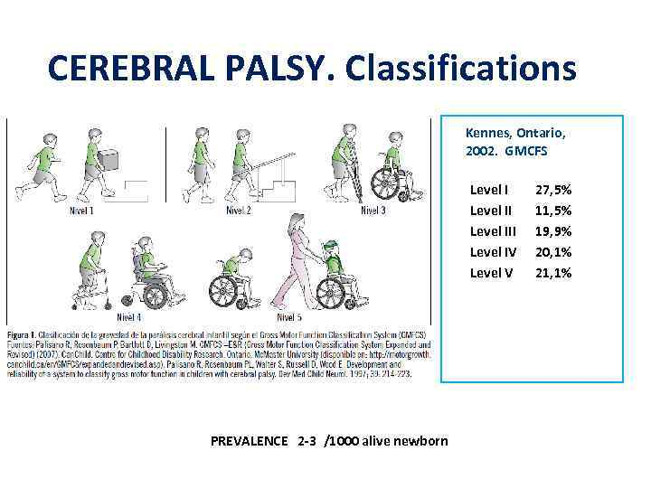 CEREBRAL PALSY. Classifications Kennes, Ontario, 2002. GMCFS Level III Level IV Level V PREVALENCE