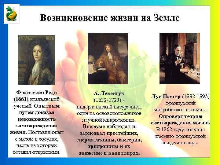Возникновение жизни на Земле Франческо Реди (1661) итальянский ученый. Опытным путем доказал невозможность самозарождения