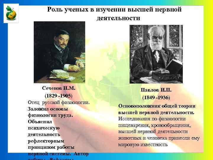 Роль ученых в изучении высшей нервной деятельности Сеченов И. М. (1829 -1905) Отец русской