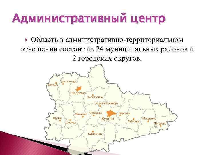 Административный центр Область в административно-территориальном отношении состоит из 24 муниципальных районов и 2 городских