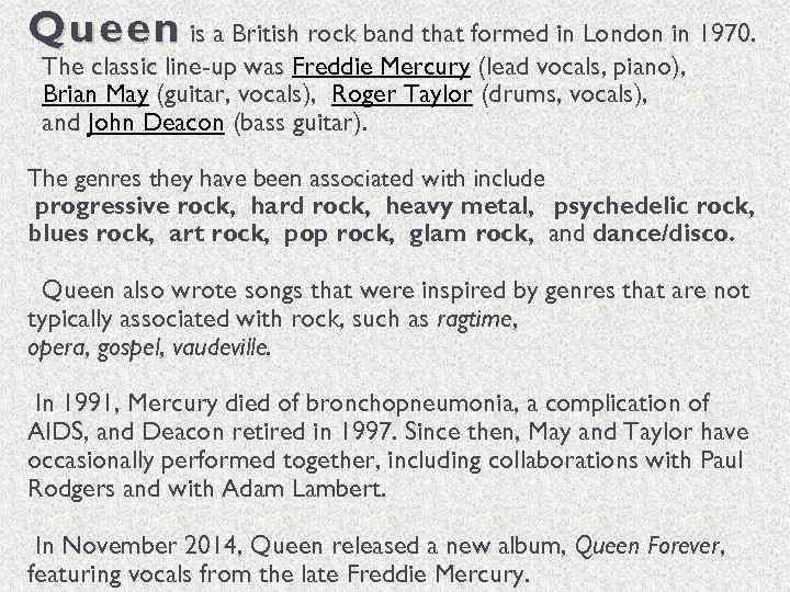 British Rock Band Queen – Swatfilms