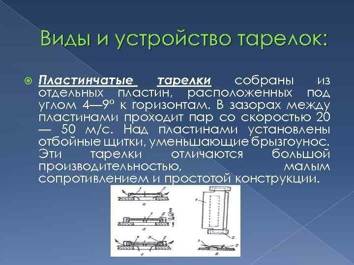 Виды и устройство тарелок: Пластинчатые тарелки собраны из отдельных пластин, расположенных под углом 4—