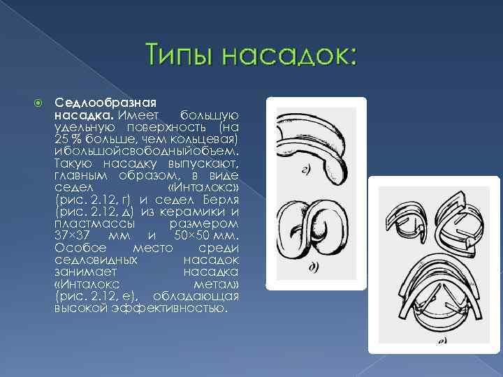 Типы насадок: Седлообразная насадка. Имеет большую удельную поверхность (на 25 % больше, чем кольцевая)