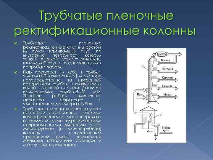 Трубчатые пленочные ректификационные колонны состоят из пучка вертикальных труб, по внутренней поверхности которых тонкой