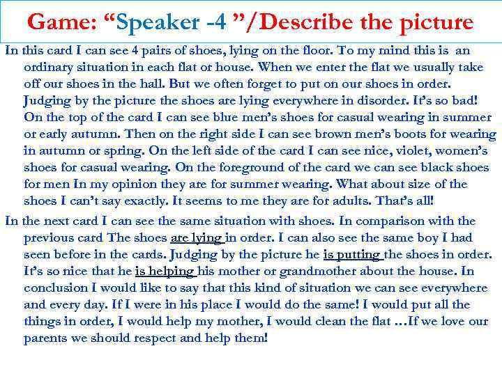 """Game: """"Speaker -4 """"/Describe the picture In this card I can see 4 pairs"""