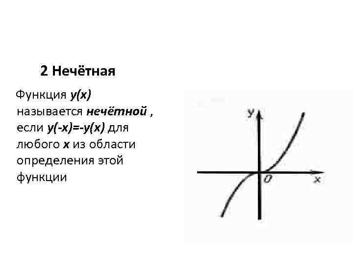 2 Нечётная Функция y(x) называется нечётной , если y(-x)=-y(x) для любого x из области