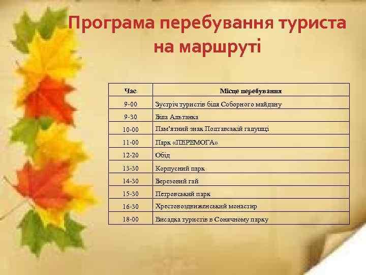 Програма перебування туриста на маршруті Час Місце перебування 9 -00 Зустріч туристів біля Соборного