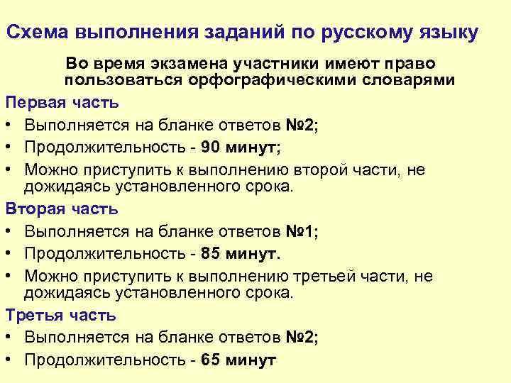 Схема выполнения заданий по русскому языку Во время экзамена участники имеют право пользоваться орфографическими