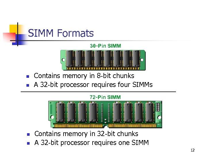 SIMM Formats 30 -Pin SIMM n n Contains memory in 8 -bit chunks A