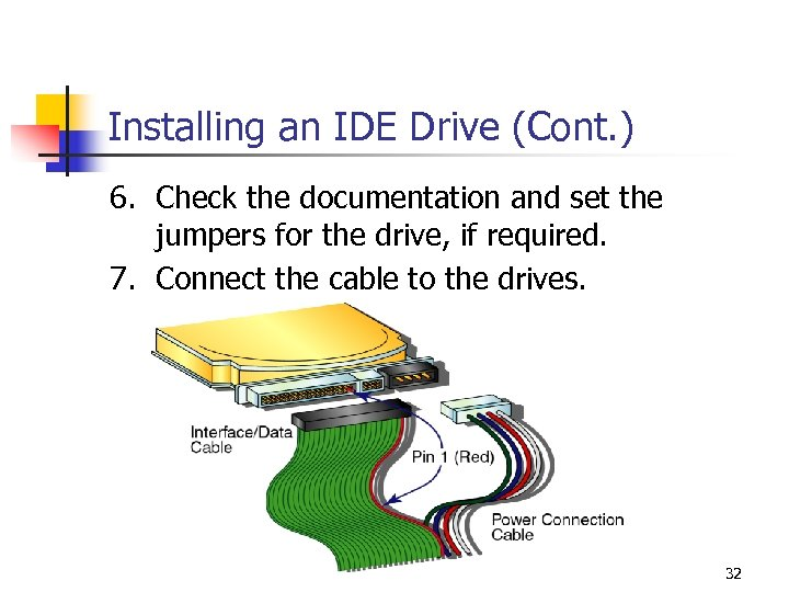 Installing an IDE Drive (Cont. ) 6. Check the documentation and set the jumpers